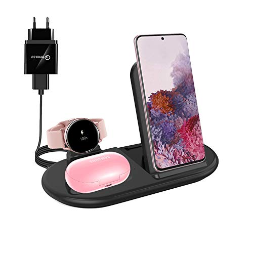 Cargador Inalámbrico, 3 en 1 Soporte de Carga Compatible con iPhone 12 Pro MAX 11 X XR XS 8, Galaxy S20+/S10 S9, Galaxy Buds+ Buds Live, Galaxy Watch 39,5 mm/40 mm/42 mm/Active1/Active2 (Black)