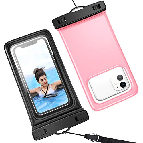 Yokata wasserdichte Handyhülle Schwimmfähig 2 Stück bis 6,5 Zoll Unterwasser Wasserfeste IPX8 Wasserschutzhülle Handytasche Schwimmen für iPhone 11 Pro/XR/XS/8/7/6 Samsung S9/S10 Huawei, Schwarz Rosa