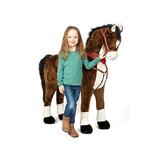 Pink Papaya Giant Riesen XXL Kinderpferd, Herkules, 125 cm Plüsch-Pferd zum reiten, fast lebensgroßes Spielzeug Pferd zum drauf sitzen, bis 100kg belastbar, mit verschiedenen Sounds, inkl. kleiner Bürste