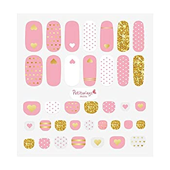 Renewal  Petitwings Nail Stickers Wraps Decals Polish Self-Adhesive for Kid Girls Boys a Nail File  Korean Made   Golden Heart