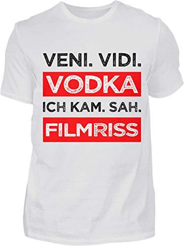 Kreisligahelden T-Shirt Herren Lustig Veni Vidi Vodka - Kurzarm Shirt Baumwolle mit Spruch Aufdruck - Karneval Party Junggesellenabschied Fun Saufen Vodka (S, Weiss)