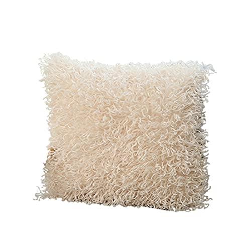 Beifeng Fundas de almohada decorativas mullidas de la serie de lujo estilo merino, fundas de almohada cuadradas y difusas para decoración del hogar