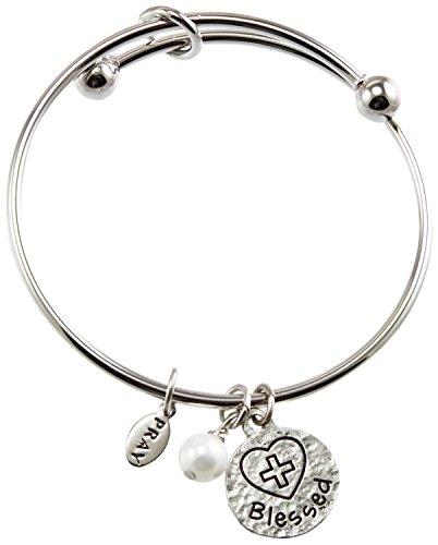 Cathedral Art PRB171 Communion Silver Bangle with Blessed Charm, Adjustable