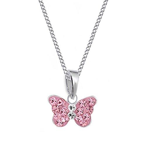 Rosa Mini Kristall Schmetterling Anhänger + Kette 925 Sterling Silber Mädchen Baby Kinder (40)