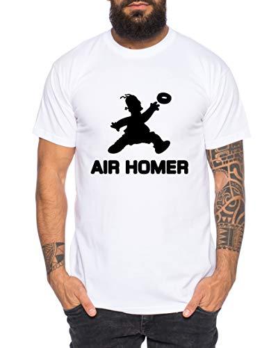 Air Homer Camiseta de Hombre Cool Fun-Shirt, Größe2:Small, Farbe2:Blanco