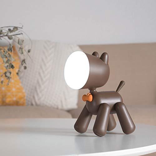 MDSQ Lámpara de mesa Variedad Puppy Light INS estilo LED Cartoon USB Two Gear Dimming Dormitorio Lámpara de mesa Aprendiendo junto a la cama Niños durmiendo Night Lights Regalos para el día de los niñ