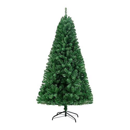Homewit künstliche Weihnachtsbaum 180 cm(Ø ca. 105 cm), 1,8 M künstliche grüne Tannenbaum mit 1000 Zweige, abziehbar zusammenklappbar und schwer entflammbar, Christbaum mit Metall Ständer(Ø ca. 45 cm)
