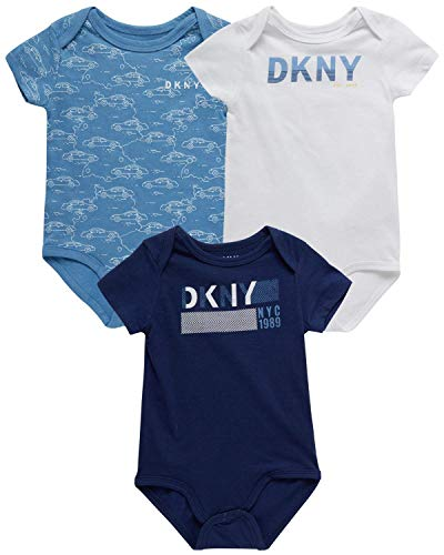 DKNY Baby Boys' Bodysuit - 3 Pack Cotton Short Sleeve Bodysuit (Newborn), Size 6-9 Months, Blue Assorted
