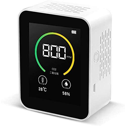 MISS YOU Carbon Dioxide Detector CO2-Messgerät Luftqualitätsmessgerät, 400-5000 ppm Messbereich Intelligenter Luftprüfgerät mit Temperaturfeuchtigkeitsanzeige (Color : Weiß)