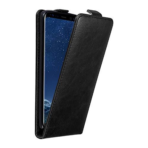 Cadorabo Hülle für Samsung Galaxy S8 Plus in Nacht SCHWARZ - Handyhülle im Flip Design mit unsichtbarem Magnetverschluss - Hülle Cover Schutzhülle Etui Tasche Book Klapp Style