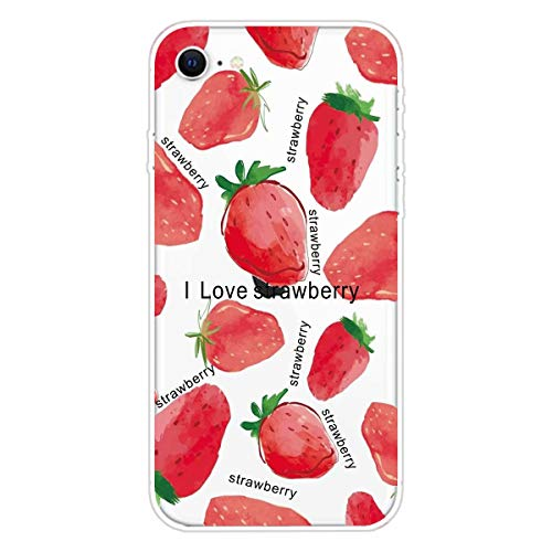Miagon Transparent Case for iPhone 6/6S,Strawberry Pattern Creaive Funny Clear Soft Ultra-Thin Flexible Silicone Drop-Protection Fully Protective Cover Case