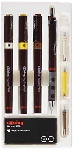 Rotring rapidograph Junior Set - Set di 3 penne tecniche per china, punta da 0,25 0,35 e 0,5 mm, portamine'Tikky' inclusa, colore: Bordeaux/Colori vari
