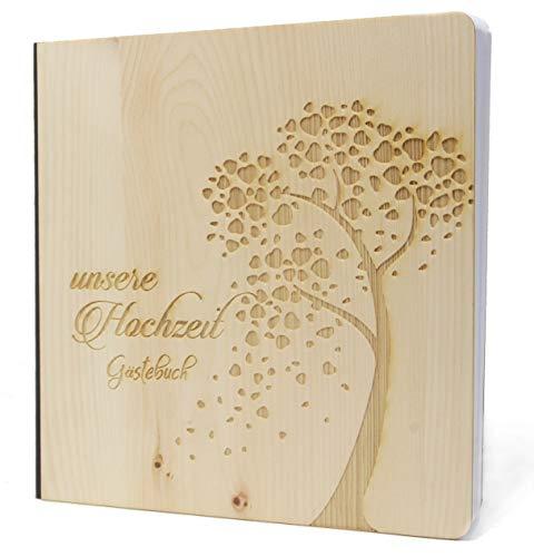 Hochzeit Gästebuch mit edlem Echtholz Zirbenholz Cover in der Größe 20 x 20cm 192 beschreibbare Seiten hochwertiges 120g Papier