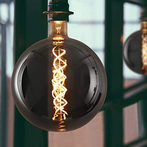GBLY LED Große Glühbirne E27 Glühlampe Rauchgrau in Groß Globe Form ⌀20cm Spiralfilament 7W als Pendelleuchte 2200K Warmweiß Dekorative Beleuchtung für Haus Café Bar Restaurant, nicht dimmbar