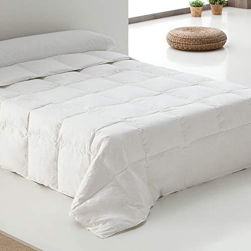 Belnou Edredon Relleno Nordico de Pluma. Blanco Liso. Grueso Blando Comodo Ligero. Diseño 90 % Plumon de Oca. 260x240 cm Cama 180/200 cm