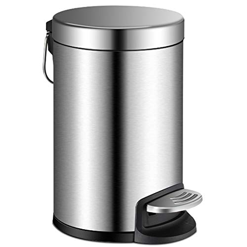 YCTEC Round Mini Trash Can with Lid Soft Close, Bathroom Trash Can with Removable Plastic Inner Wastebasket, Anti-Fingerprint Brushed Stainless Steel Trash Can for Bedroom Office, 0.8Gal/3L