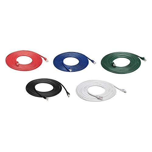 Amazon Basics - Cable de Ethernet Cat6 a prueba de enganches, 4,6m, paquete de 5, negro/rojo/azul/blanco/verde