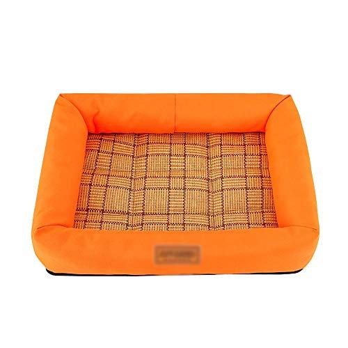 Huisdierkoelmat, koelbox, kooi, comfortabele huisdierslaapmat, kattennest, kussen, warmteafvoerkussen voor de zomer en winter 33x42x7cm oranje