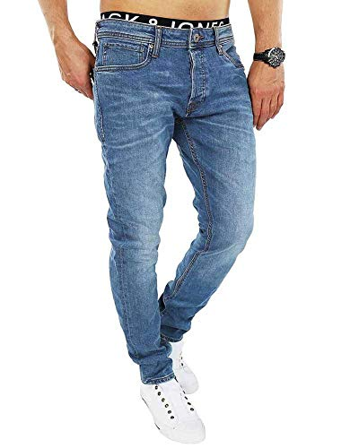 Jack & Jones Herren Slim Fit Jeans Denim Used Look (W33 L32, Blue Denim)
