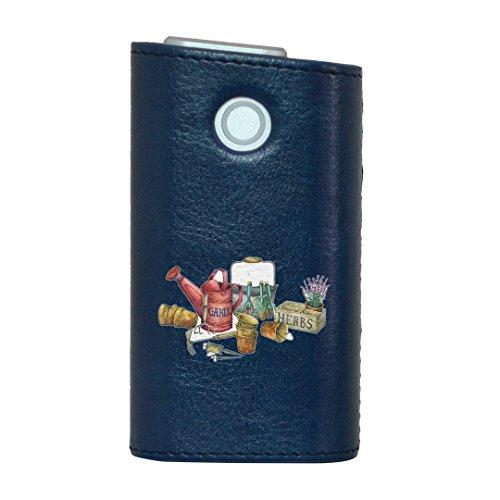 glo グロー グロウ 専用 レザーケース レザーカバー タバコ ケース カバー 合皮 ハードケース カバー 収納 デザイン 革 皮 BLUE ブルー 花 鉢植え フラワー 014392