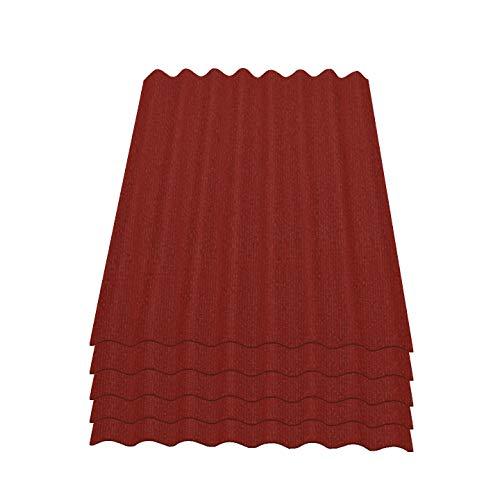 Onduline Easyline Dachplatte Wandplatte Bitumenwellplatten Wellplatte 5x0,76m² - rot