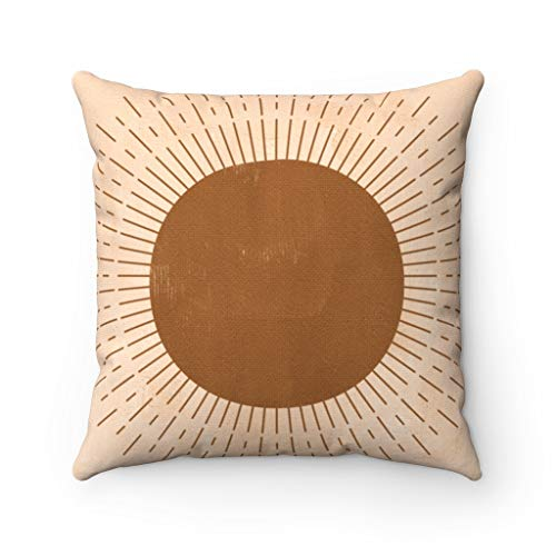 Promini Pillow Cover, Couch Accent Decorative Pillowcase, Sun Moon Phases, Stars Terra Cotta, Mystic Brown Gold, Mystic Southwestern,Modern Abstract Case Cushion for Sofa Home Decor 22 x 22 Inches
