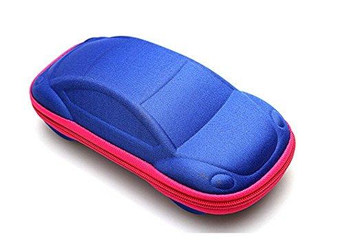 Kentop Funda para gafas infantil creativa, con cremallera, universal (azul y rojo)