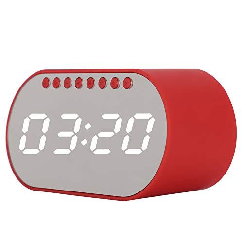 Jingyig Supporte la Carte TF Haut-Parleur Bluetooth Polyvalent, Radio-réveil Haut-Parleur Portable, Radio FM pour Bureau(Red)