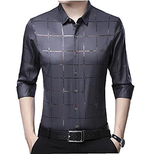 Uomini Slim camicia di cotone a quadri Top stampati bottone della camicia a maniche lunghe Giù, Grigio