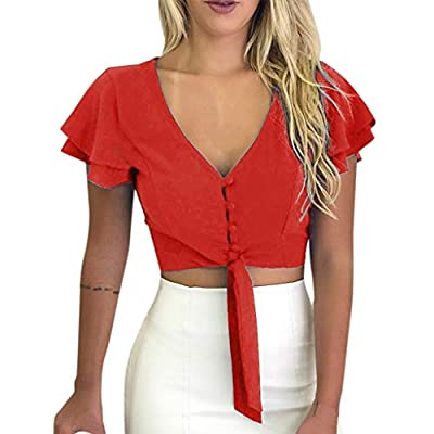 RAINED-Women Chiffon Crop Tops Summer Solid Short Sleeve Flare V Neck Button Down Shirt Tie Knot Slim Fit Tops