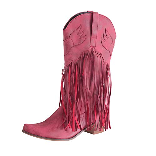 Pageantry Women's Ankle Boots Leather Square Toe Tassel Low-Heeled Shoes Western Cowboy Boots Red