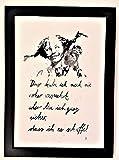 'Das habe ich noch nie.' Bild, handgemaltes Original, Aquarell, schwarz-weiß, hygge, Din A4, Geschenkidee z.B. für Muttertag, Vatertag, Valentinstag, Pippi Langstrumpf-Spruch, Motivation, MIT Rahmen