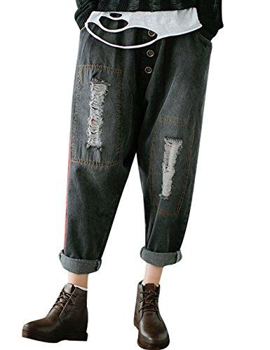 Youlee Damen Drop Crotch Jeans Elastische Taillenhose mit Löchern