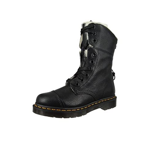 Dr.Martens Womens Aimilita 9-Eyelet Fur Lined Black Leather Boots 36 EU