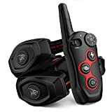2 In 1 Dog Training Collar & Dog Bark Collar - Rechargeable Dog Remote Shock Collar w/3 Training Modes, Beep, Vibration, Shock, 100% Waterproof Training Collar, Up to 1300Ft Remote Range for 2 Dogs