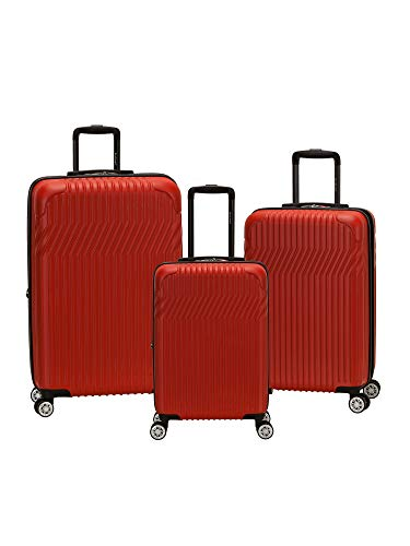Rockland Pista Hardside Spinner Wheel Luggage Set, Red