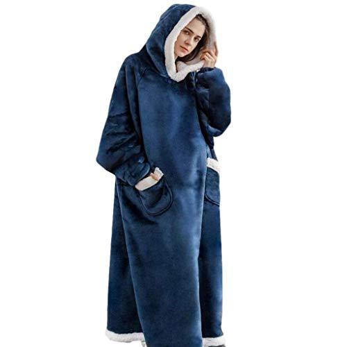 GUOXY Manta cálida de invierno para sofá de televisión con mangas de forro polar bolsillo con capucha y peso para adultos de gran tamaño