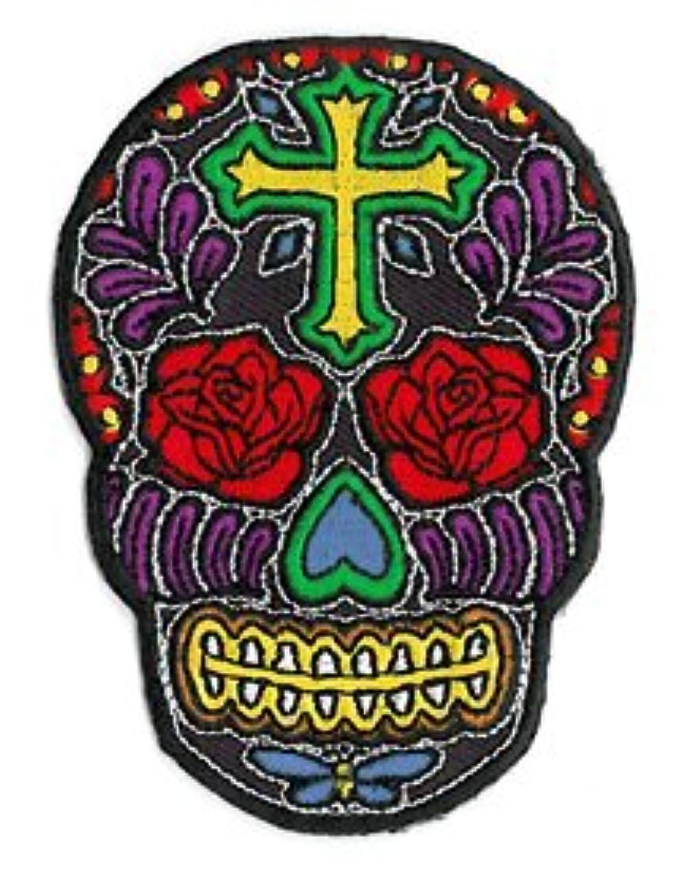 Novelty Iron On Patch - Cross Sugar Skull Face w/ Rose Flower Eyes Applique