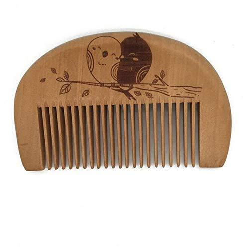 YNHNI Peine de madera 1 unid bolsillo madera peines no estática barba peine natural caoba peluquería lindo portátil herramienta de estilo