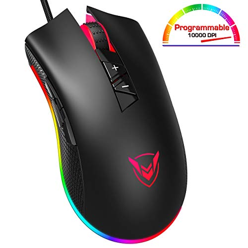 RGB Gaming Mouse Wired, PICTEK 8 Programmable Buttons, Customizable Lighting Modes, 10,000 Adjustable DPI with Fire Button, Grip Ergonomic Optical PC Computer Gaming Mice