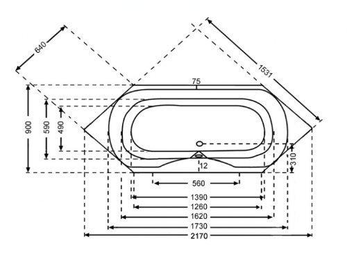 Unbekannt Sechseckbadewanne Acryl weiß 217x90cm, Extratief 50cm
