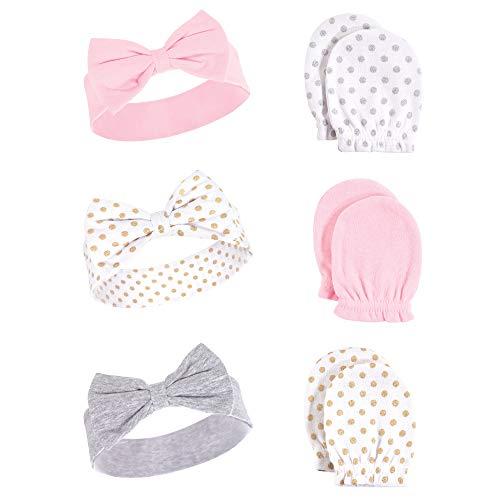 Hudson Baby Unisex Cotton Headband and Scratch Mitten Set, dots, 0-6 Months