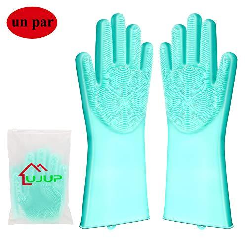 UJUP Guantes de Silicona Lavar Platos: Guante de limpieza mágico con cepillo de esponja – Herramientas…