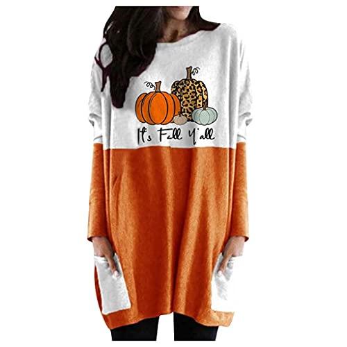 Kookmean Sudadera de Halloween para mujer, cuello redondo, suelta, manga larga, con estampado de calabaza, con bolsillos, M-café, XL