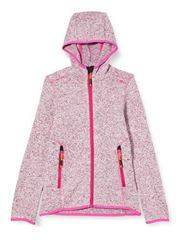 CMP Mädchen Knit Tech mélange Fleece Jacket with Hood Jacke, Bouganville, 140