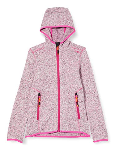 CMP Mädchen Knit Tech mélange Fleece Jacket with Hood Jacke, Bouganville, 176