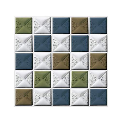FAM STICKTILES Azulejos Adhesivos, 4 Piezas Pegatinas de Baldosas 3D Auto-Adhesivo Pegatinas de Azulejos Impermeable para Cocina y Baño, 12'x12' (30x30cm)
