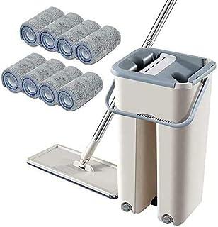 Set de serpillère 2 en 1 - Rotation à 360 ° - Balai plat autonettoyant avec 10 tampons en microfibre et seau de nettoyage