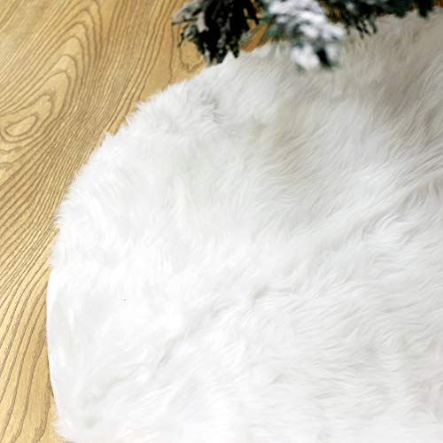 Joiedomi 48' Christmas Faux Fur Tree Skirt (White) Soft Classic Fluffy Faux Fur Tree Skirt for Christmas Tree Decorations