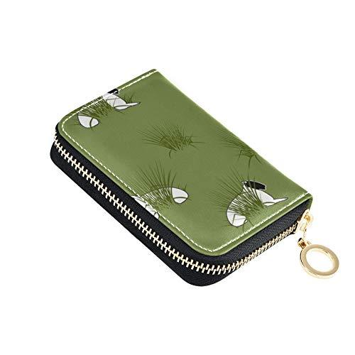 CardPurseMen Textur Packpapier Schaf Lämmer Rush Green CardSlimWalletWomen Pu Leder Zip-Around Kompakte Größe CoinCardWallet Für Frauen Damen Mädchen Minimalist Akkordeon Brieftasche